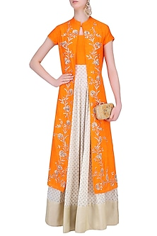 Off White and Light Orange Printed Kurta Set with Embroidered Jacket by Vasavi Shah