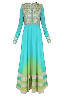 Turquoise Urab Cut Kurta Set with Gota Work Jacket