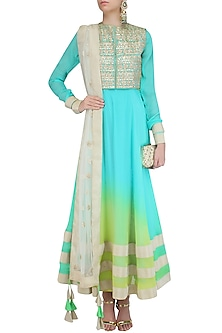 Turquoise Urab Cut Kurta Set with Gota Work Jacket by Vasavi Shah