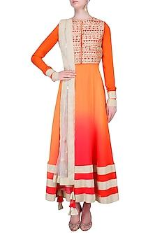 Orange Urab Cut Kurta Set with Gota Work Jacket by Vasavi Shah