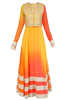 Yellow Urab Cut Kurta Set with Gota Work Jacket