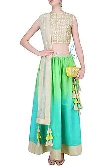 Off White and Turquoise Gota Cutwork Lehenga Set by Vasavi Shah