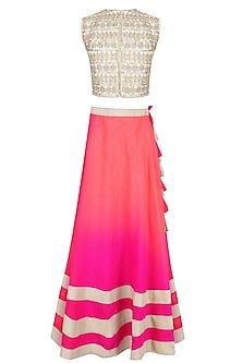 Off White and Pink Gota Cutwork Lehenga Set by Vasavi Shah