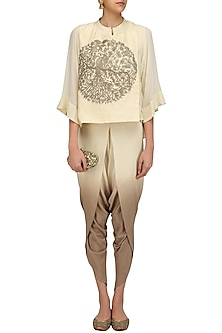Off White Peacock Embroidered Short Kurta and Dhoti Pants Set by Vasavi Shah