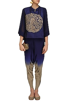 Navy Blue Peacock Embroidered Short Kurta and Dhoti Pants Set by Vasavi Shah