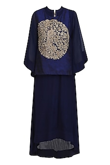 Navy Blue and Gold Peacock Motif A Line Kurta by Vasavi Shah