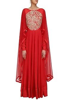 Red Embroidered Kalidaar Kurta with Drape Sleeves by Vasavi Shah