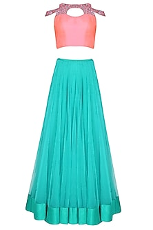 Rose Pink Cut Out Choli Blouse With Sea Green Multilayered Lehenga Set