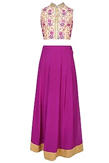 Beige Floral Motifs Embroidered Choli Blouse With Purple Pleated Skirt