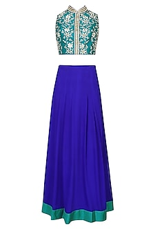 Teal Resham Embroidered Choli Blouse With Royal Blue Pleated Skirt