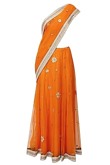 Saffron Floral Motifs Embroidered Sheer Saree With Red Resham Embroidered Blouse