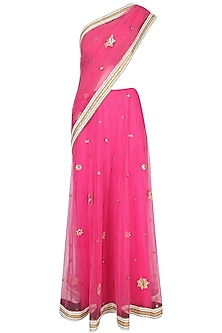 Fuschia Pink Floral Motifs Embroidered Sheer Saree With Mustard Yellow Resham Embroidered Blouse