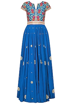 Peacock Blue Floral Pattern Resham Embroidered Jellabiya/ Gown