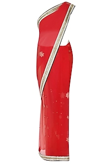 Red Floral Embroidered Sheer Saree With Black Resham Embroidered Blouse