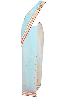 Powder Blue Floral Embroidered Sheer Saree With Red Resham Embroidered Blouse
