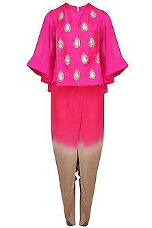 Pink Embroidered Cape, Top and Dhoti Pants Set