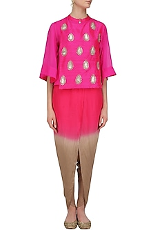 Pink Embroidered Cape, Top and Dhoti Pants Set by Vasavi Shah