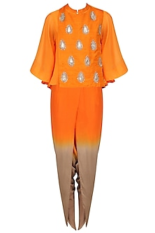 Orange Embroidered Cape, Top and Dhoti Pants Set