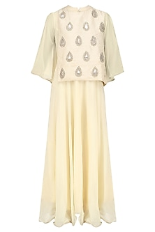 Ivory Embroidered Motifs Cape Tunic