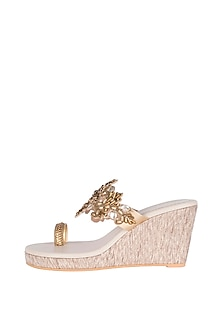 Cream & Gold Embroidered Textured Heel Sandals by Veruschka By Payal Kothari