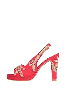 Red & Gold Embroidered Heel Sandals by Veruschka By Payal Kothari