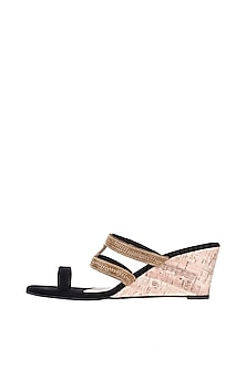 Black & Gold Embroidered Heel Sandals by Veruschka By Payal Kothari