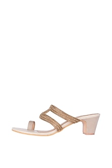 Cream & Gold Embroidered Heel Sandals by Veruschka By Payal Kothari