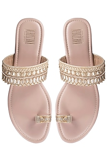 Pink Embroidered Kolhapuri Sandals by Veruschka By Payal Kothari