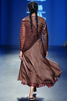 Brown Panelled Dress With Skirt by Vaishali S