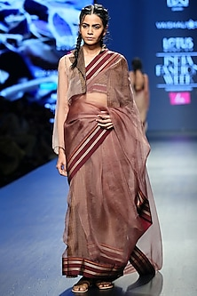 Brown & Golden Brown Handwoven Saree Set by Vaishali S