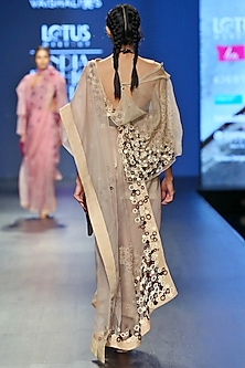 Cream & Grey Handwoven Saree Set by Vaishali S