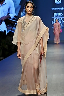 Cream Asymmetric Sleeves Cape by Vaishali S