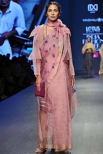 Baby Pink Sheer Coat by Vaishali S