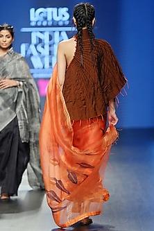 Orange Contemporary Motif Saree Set by Vaishali S