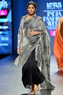 White & Black Sheer Silk Jacket by Vaishali S