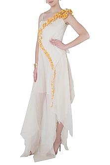 White Asymmetrical Maxi Dress by Vaishali S