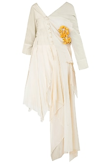 White Asymmetrical Texture Shirt Dress