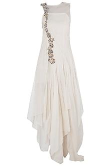 Off White Asymmetrical Frill Maxi Dress by Vaishali S