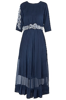 Blue Texture Midi Dress by Vaishali S