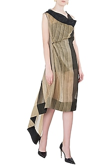 Beige Asymmetrical Texture Dress by Vaishali S