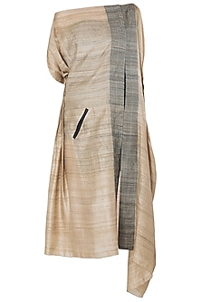 Beige Asymmetrical Side Lining Dress