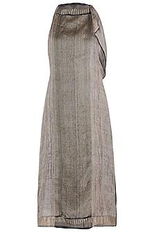 Brown Asymmetrical Midi Dress