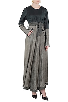 Black and Brown Maxi Dress with Belt by Vaishali S