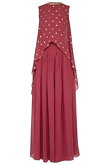 Deep rust embroidered cape with palazzo pants