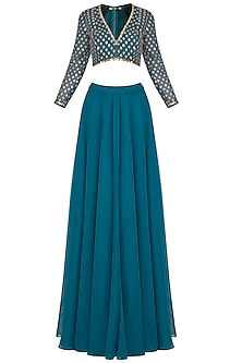 Teal embroidered sharara pants set