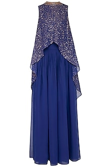 Midnight blue embroidered cape with palazzo pants