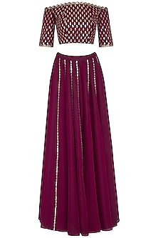 Wine embroidered sharara pants set