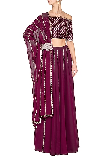 Wine embroidered sharara pants set by Vvani by Vani Vats