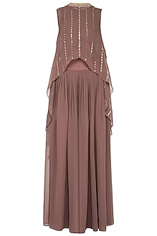 Brown embroidered cape with palazzo pants