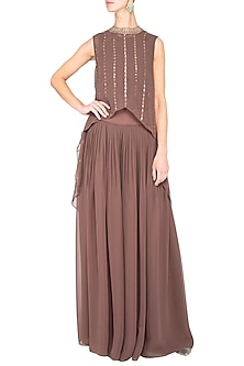 Brown embroidered cape with palazzo pants by Vvani by Vani Vats